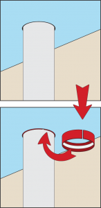 Illustration of Pipe Wrap Installation around a vertical pipe.