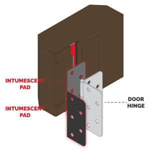 Diagram showing how SEALz® Intumescent Hardware Pads can be added to a Door Hinge