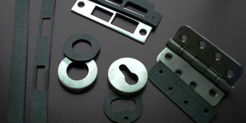 SEALz Intumescent Hardware Pads, custom cut for lockcases, strikeplates, door closers, escutcheons, and other shapes.